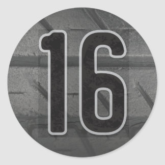 décimosexto Pegatina del cumpleaños del muchacho