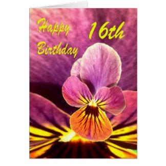 Décimosexto pensamiento feliz de la flor del cumpl tarjeta
