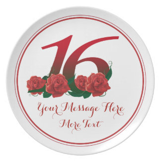 Décimosexto placa del aniversario 16 del platos de comidas