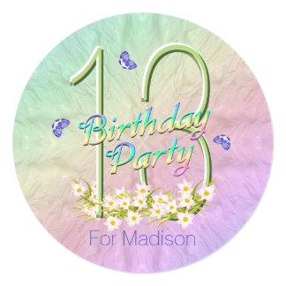 décimotercero Arco iris y mariposas de la fiesta Invitación 13,3 Cm X 13,3cm