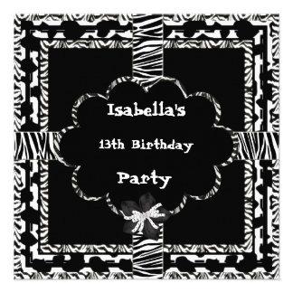 décimotercero Cebra salvaje blanca de cumpleaños d Comunicados Personalizados