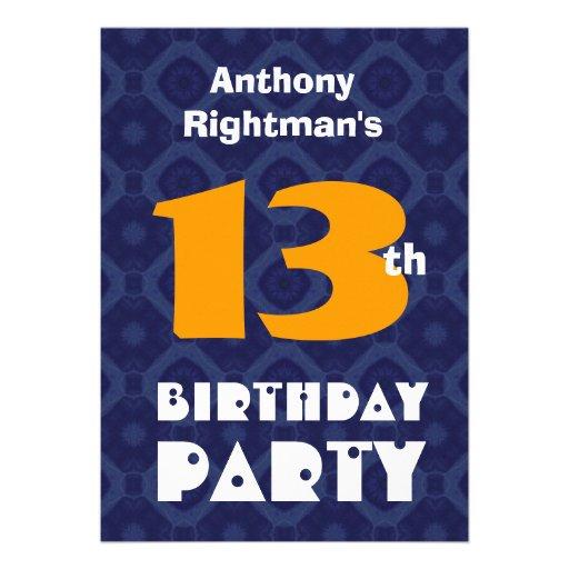 Décimotercero cumpleaños adolescente moderno para  invitación