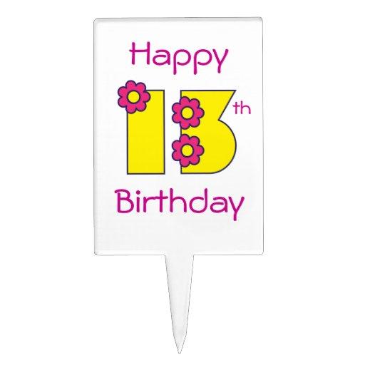 Décimotercero cumpleaños feliz en el amarillo de F Figuras De Tarta