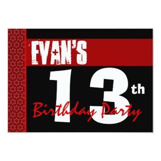 décimotercero Cumpleaños moderno para él negro Invitación 12,7 X 17,8 Cm