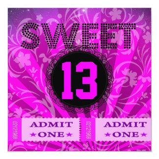 décimotercero Dulce diversión de 13 de cumpleaños Invitación 13,3 Cm X 13,3cm