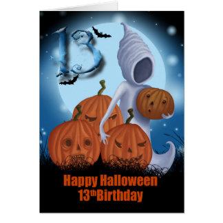 décimotercero Fantasma y calabazas de Halloween Tarjeton