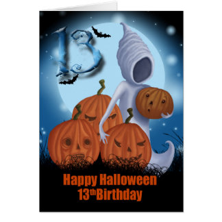 décimotercero Fantasma y calabazas de Halloween Tarjeta De Felicitación