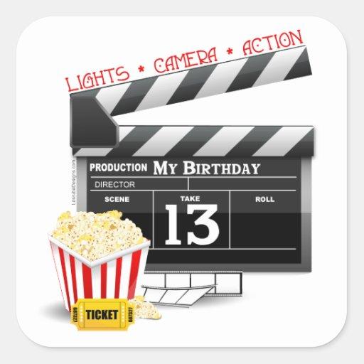 décimotercero Fiesta de la película del cumpleaños Calcomanías Cuadradases
