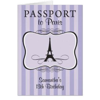 décimotercero Invitación del pasaporte de París de Felicitación