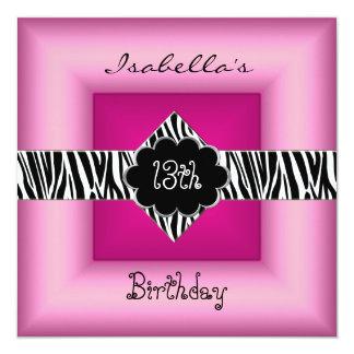 décimotercero Negro animal adolescente 5 del rosa Invitación 13,3 Cm X 13,3cm