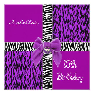 décimotercero Negro animal púrpura salvaje del cum Comunicado Personalizado