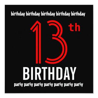 décimotercero Número moderno del negro y del color Invitación 13,3 Cm X 13,3cm