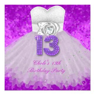 décimotercero Púrpura adolescente de las chicas Invitación 13,3 Cm X 13,3cm