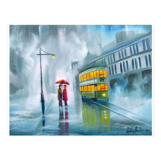 DECIR ADIÓS día lluvioso de la pintura al óleo de  Postales