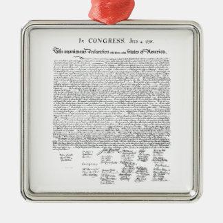 Declaración de Independencia Adorno Cuadrado Plateado