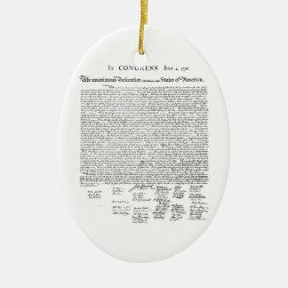 Declaración de Independencia Adorno Ovalado De Cerámica
