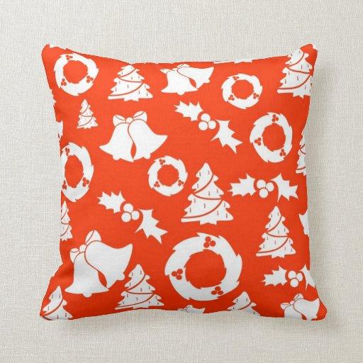 Decoración anaranjada de la almohada del navidad