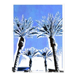 Decoración azul fresca del tema de la playa del pa postal