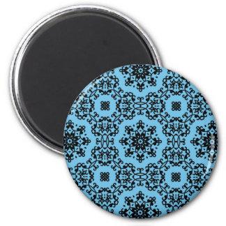 Decoración azul y negra elegante del damasco imán