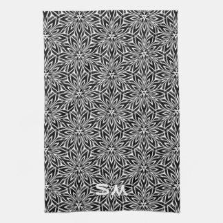 Decoración blanca negra de la cocina del monograma toallas de mano