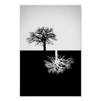 Decoración blanco y negro de la pared del árbol póster