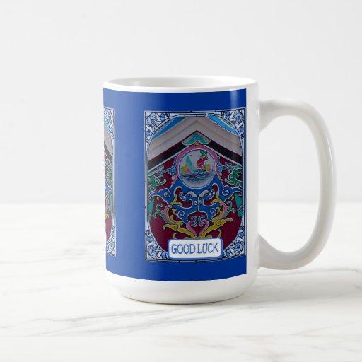 Decoración china del templo taza de café