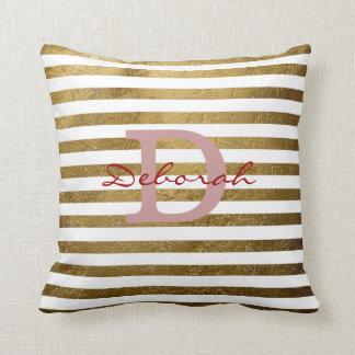 decoración con monograma personalizada de las raya almohada
