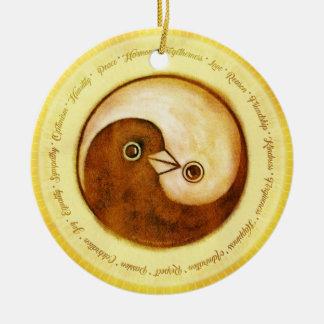 Decoración de cerámica de las palomas de paz de