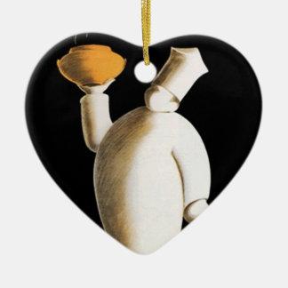 Decoración de la cesta del regalo de los cocineros adorno navideño de cerámica en forma de corazón