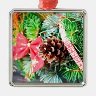 Decoración de la guirnalda del navidad adorno navideño cuadrado de metal