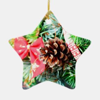 Decoración de la guirnalda del navidad adorno navideño de cerámica en forma de estrella