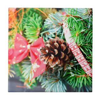 Decoración de la guirnalda del navidad azulejo cuadrado pequeño