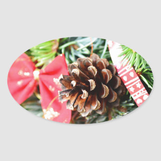 Decoración de la guirnalda del navidad pegatina ovalada