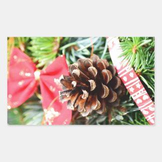 Decoración de la guirnalda del navidad pegatina rectangular