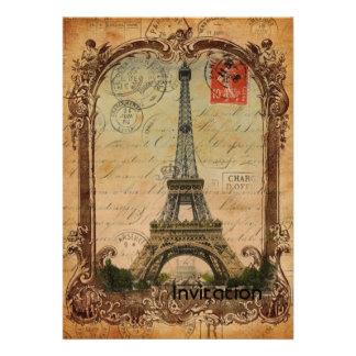 decoración de la torre Eiffel del vintage del Invitación Personalizada