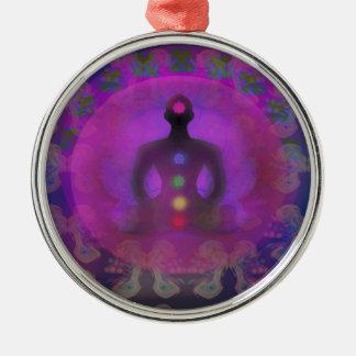 Decoración de la yoga de la meditación adorno navideño redondo de metal