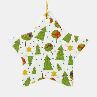 """Decoración de los """"abetos"""" en blanco adorno navideño de cerámica en forma de estrella"""