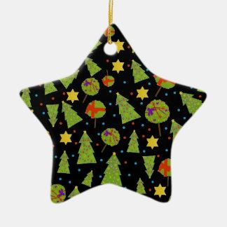 """Decoración de los """"abetos"""" en negro adorno navideño de cerámica en forma de estrella"""