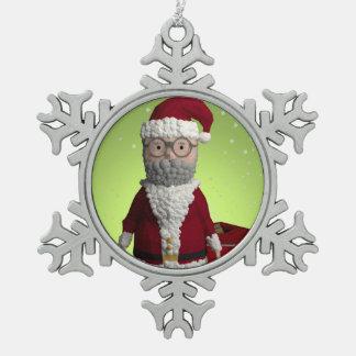 Decoración del árbol de navidad del padre adorno de peltre en forma de copo de nieve