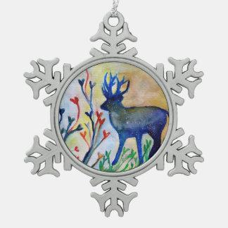 Decoración del copo de nieve del estaño del reno
