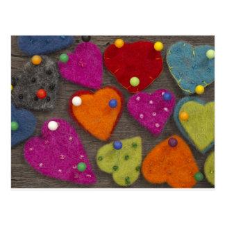 decoración del corazón de la materia textil postal