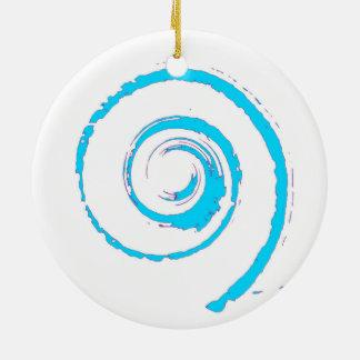 Decoración del navidad con giro azul claro adorno navideño redondo de cerámica
