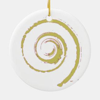 Decoración del navidad con giro de oro adorno navideño redondo de cerámica