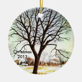 Decoración del navidad de la escena 2013 de la adorno redondo de cerámica