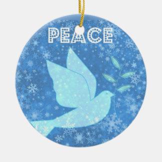 Decoración del navidad de la paloma de la paz adorno redondo de cerámica