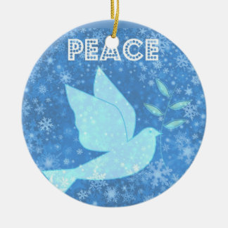 Decoración del navidad de la paloma de la paz adorno navideño redondo de cerámica