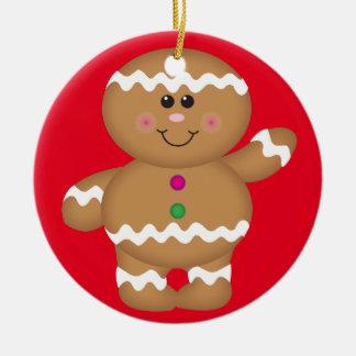 Decoración del navidad del hombre de pan de adorno navideño redondo de cerámica