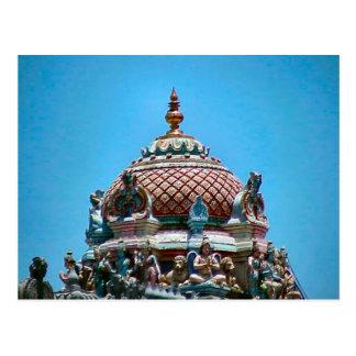 Decoración del tejado del templo hindú postal