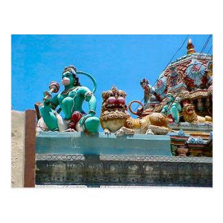 Decoración del templo hindú postal