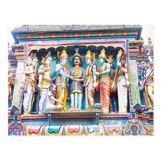 Decoración del templo hindú, vida hindú postal